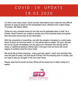 COVID-19 Update (19.03.20) - Gym Closure