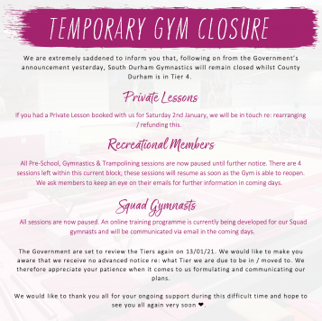 Gymnastics Centre Temporarily Closed